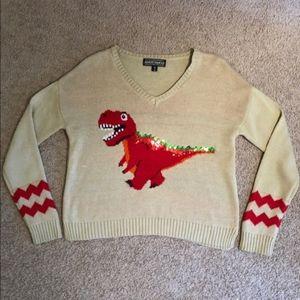 Almost famous tRex  dinosaur sequin sweater medium